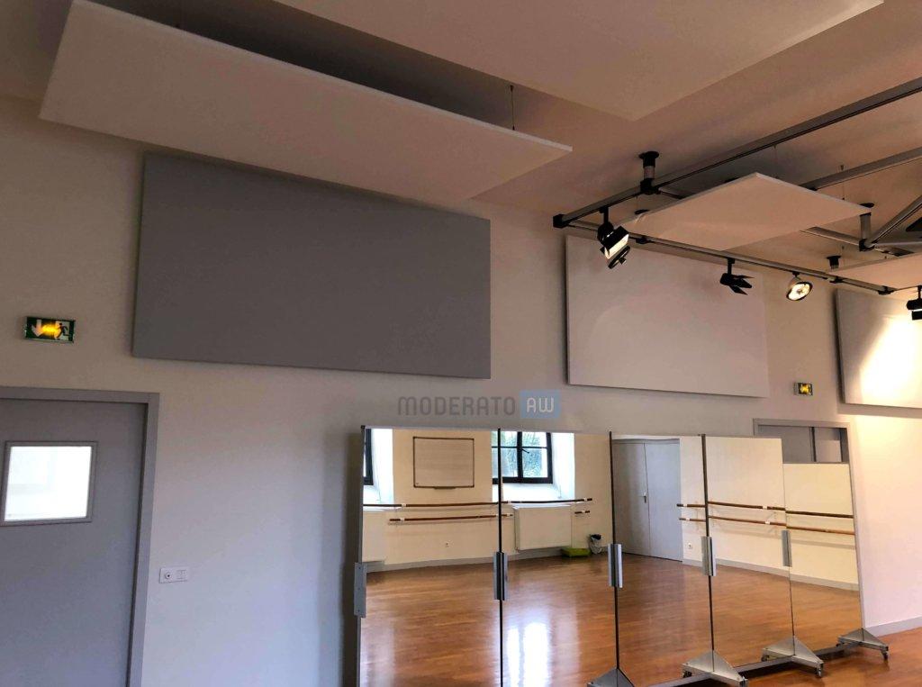 panneaux acoustiques suspendus au plafond ou fix s aux murs moderato. Black Bedroom Furniture Sets. Home Design Ideas